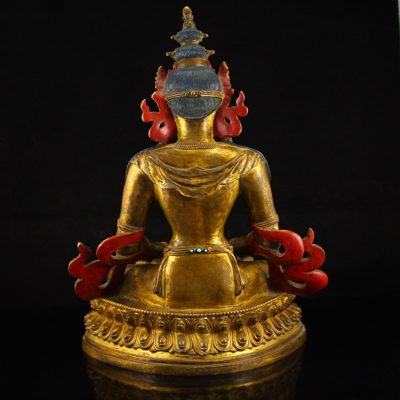 Vintage Tibet Gilt Gold Red Copper Kwan-yin Statue - 8