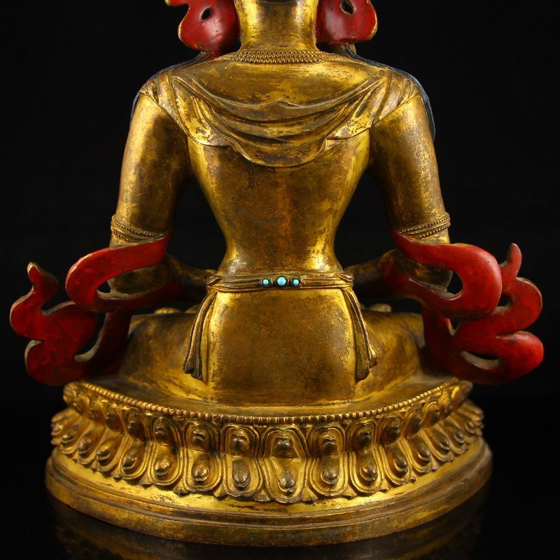 Vintage Tibet Gilt Gold Red Copper Kwan-yin Statue - 9