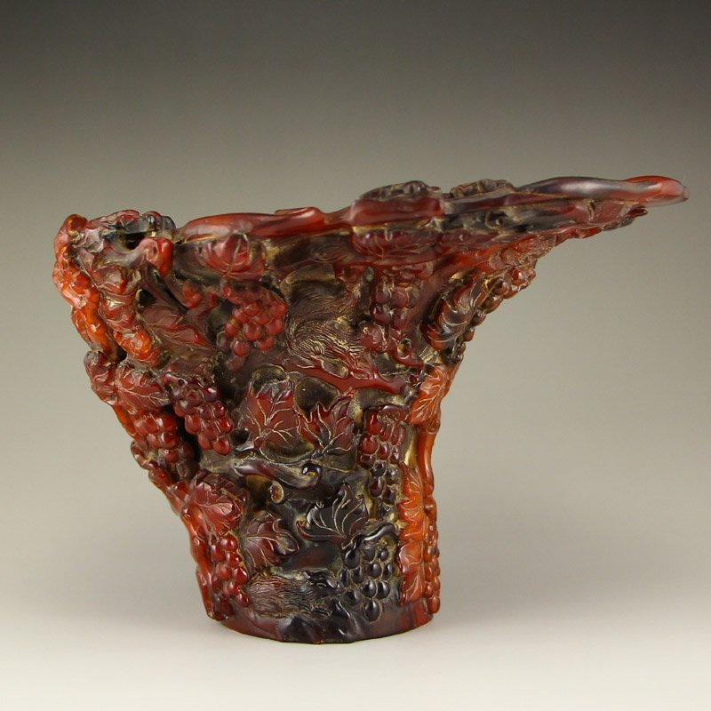 Chinese Qing Dynasty Ox Horn Sacrificed Cup