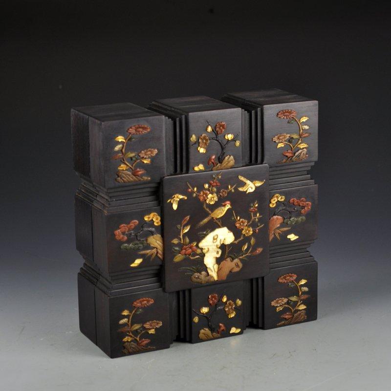 Chinese Qing Dy Zitan Wood Inlay Shells Jewelry Box - 2