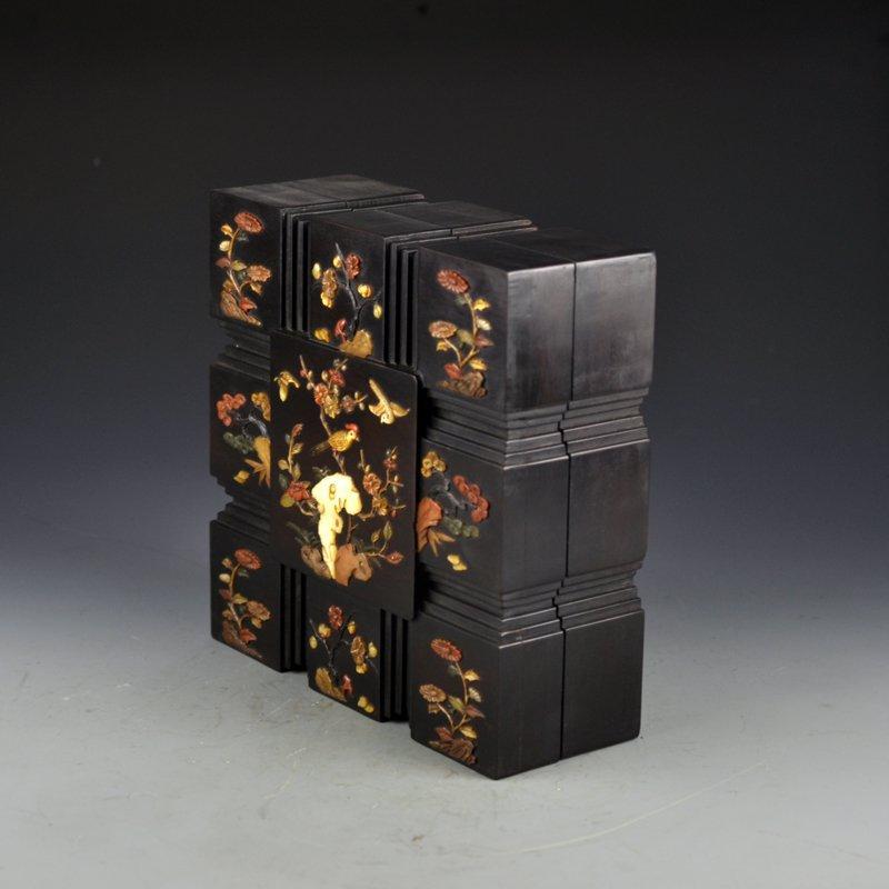 Chinese Qing Dy Zitan Wood Inlay Shells Jewelry Box - 3