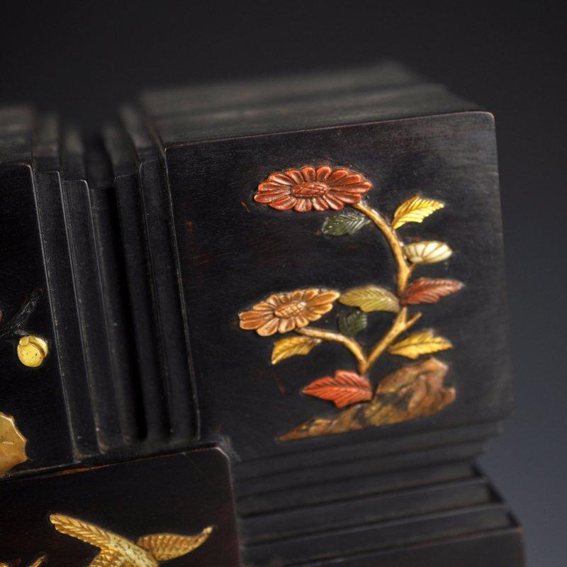 Chinese Qing Dy Zitan Wood Inlay Shells Jewelry Box - 4