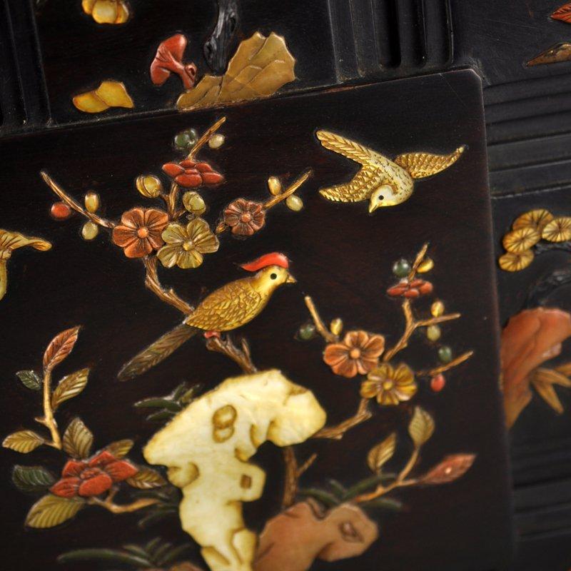 Chinese Qing Dy Zitan Wood Inlay Shells Jewelry Box - 5