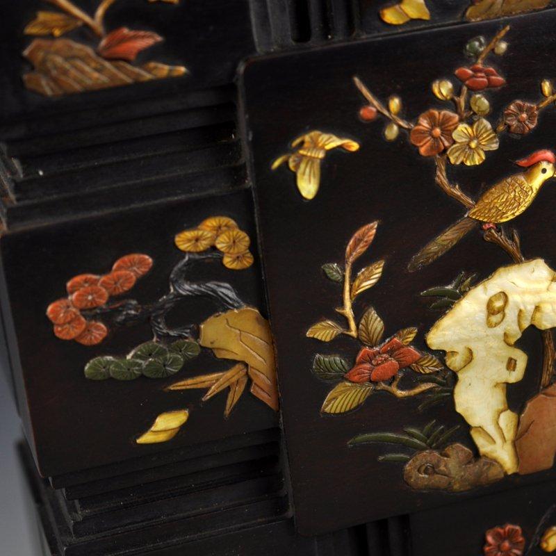 Chinese Qing Dy Zitan Wood Inlay Shells Jewelry Box - 6