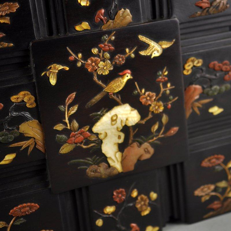 Chinese Qing Dy Zitan Wood Inlay Shells Jewelry Box - 7