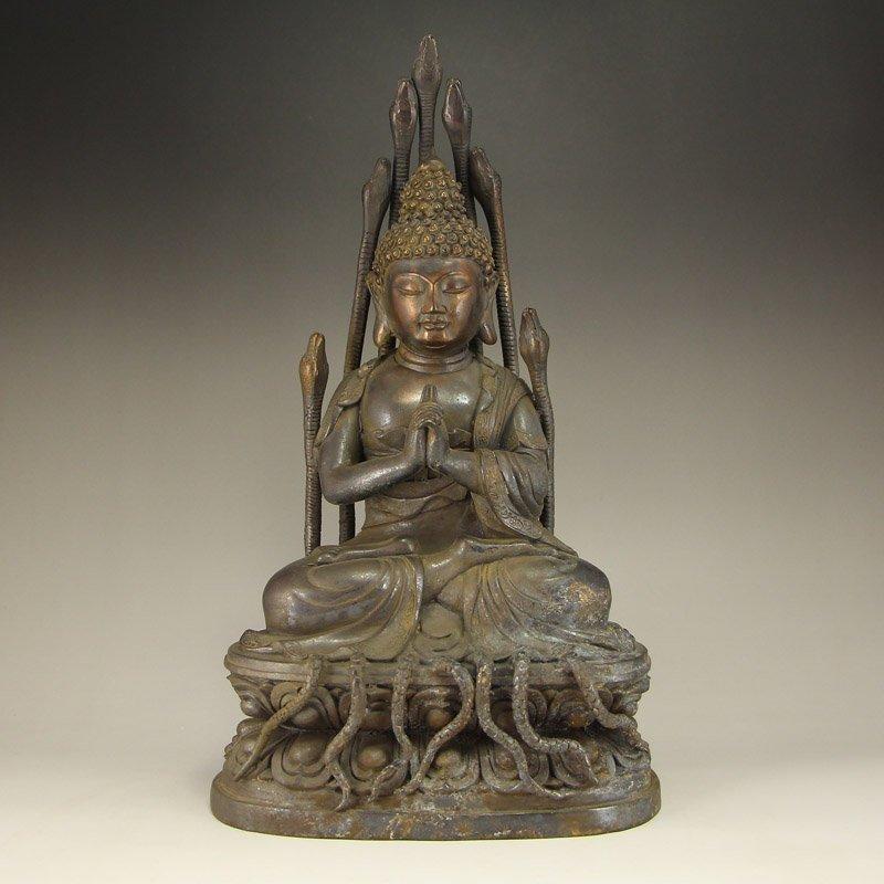 Vintage Buddhism Bronze Nagaraja Buddha Statue