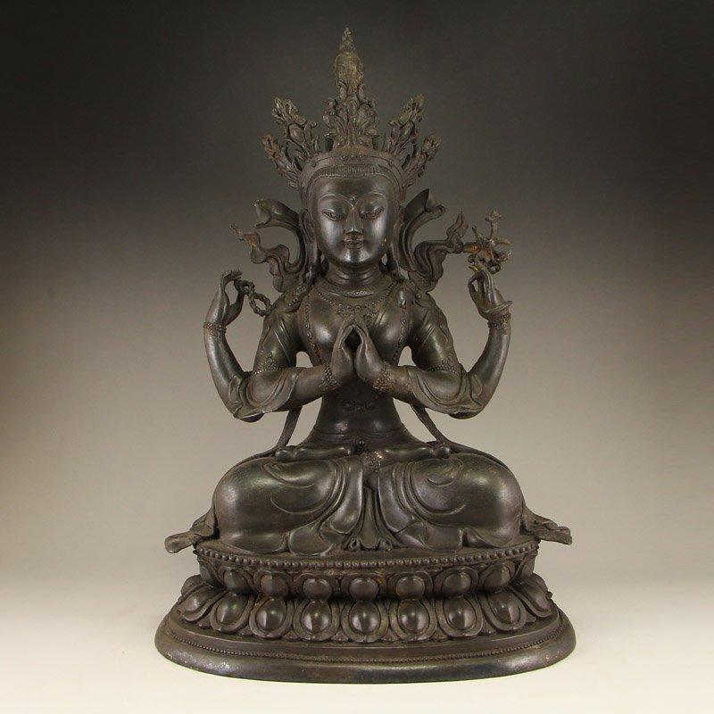 Vintage Tibet Buddhism Bronze Four Arms Kwan-yin Statue