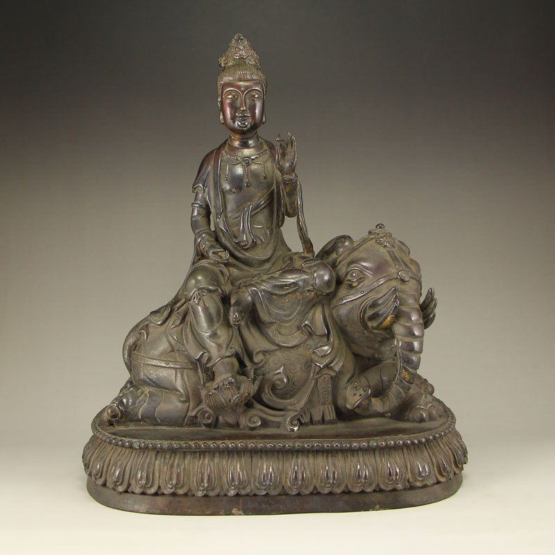 China Ming Dy Bronze Statue - Samantabhadra & Elephant