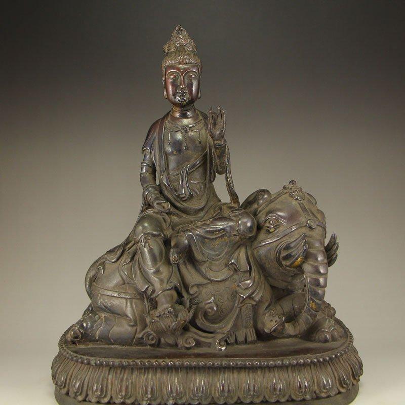 China Ming Dy Bronze Statue - Samantabhadra & Elephant - 2