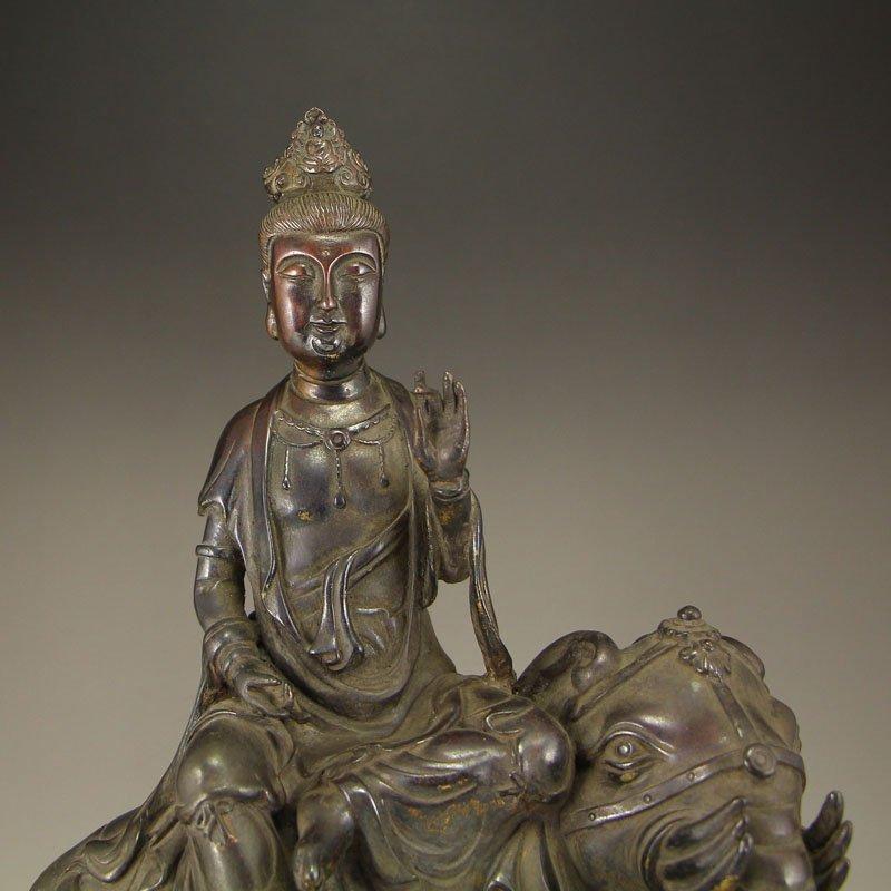China Ming Dy Bronze Statue - Samantabhadra & Elephant - 3