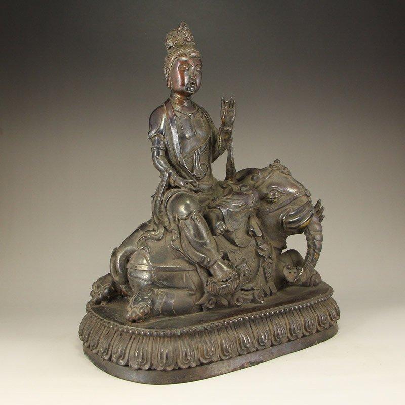 China Ming Dy Bronze Statue - Samantabhadra & Elephant - 7