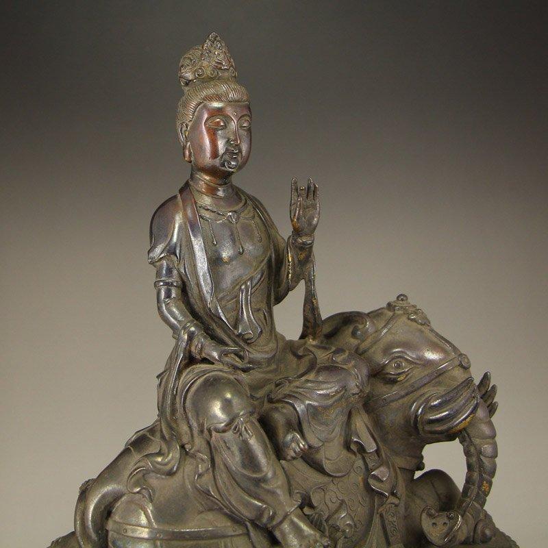 China Ming Dy Bronze Statue - Samantabhadra & Elephant - 8