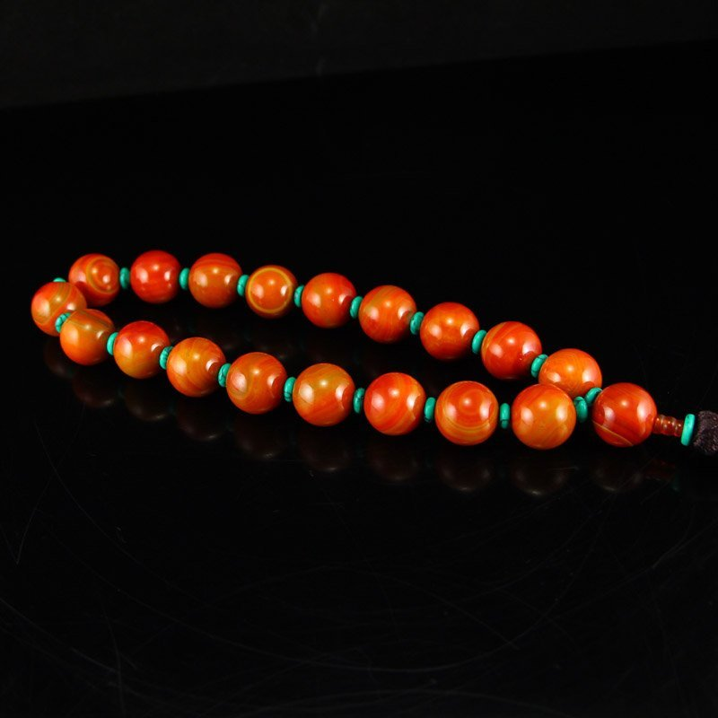 Chinese Red Agate & Turquoise Beads Bracelet