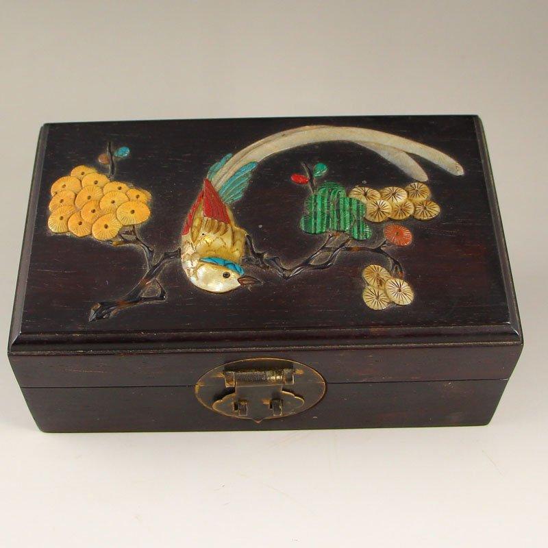Chinese Qing Dynasty Zitan Wood Inlay Shells Jewel Box