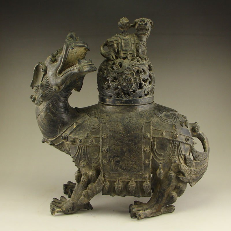 Chinese Ming Dy Bronze Fortune Beast Incense Burnee