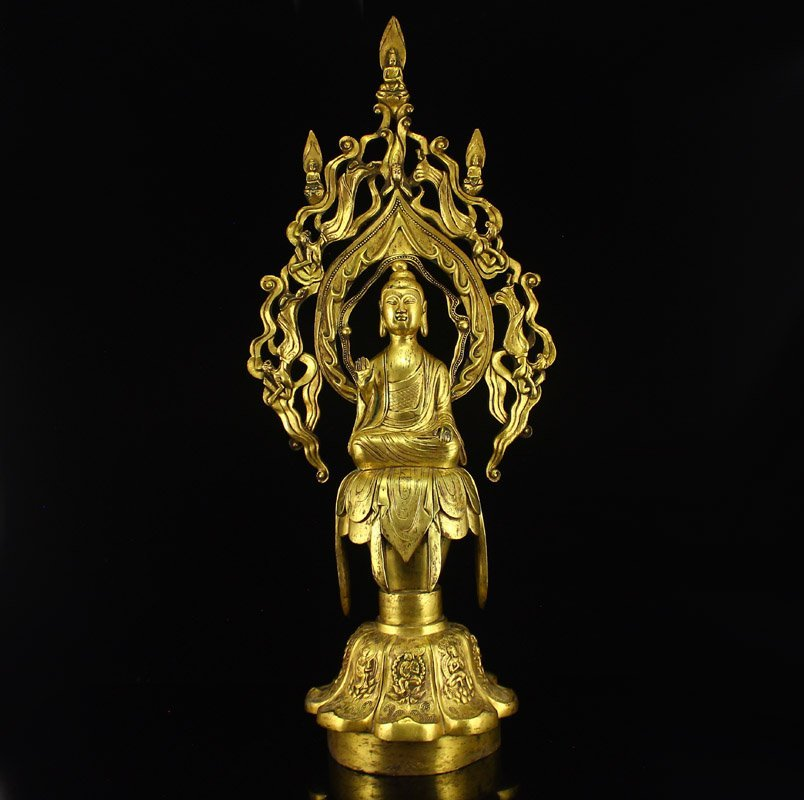 Chinese Liao Dy Gilt Gold Bronze Buddha Statue