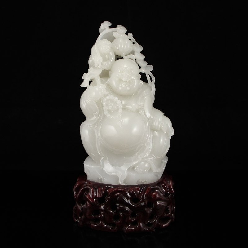 Chinese Hetian Jade Statue - Laughing Buddha & Kid