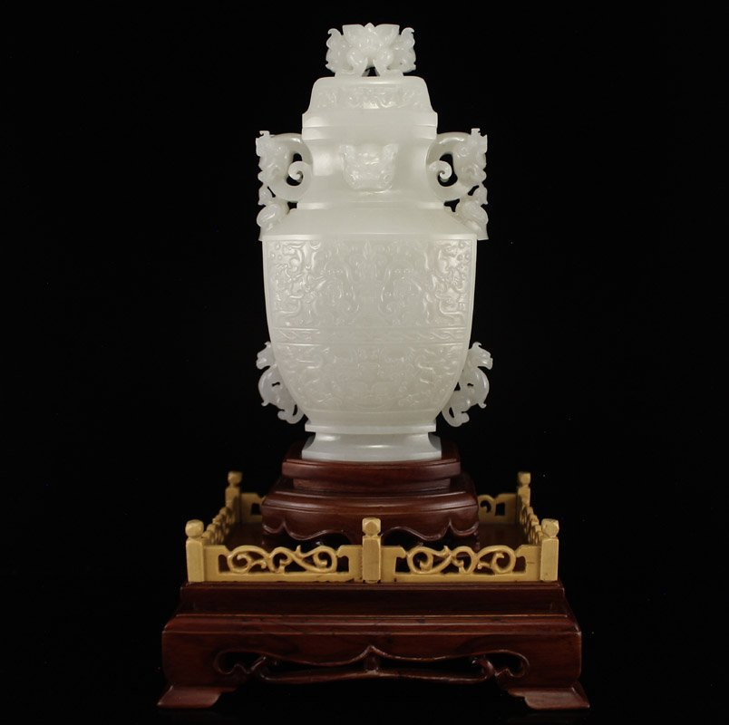 Chinese Qing Dy White Hetian Jade Double Ears Vase