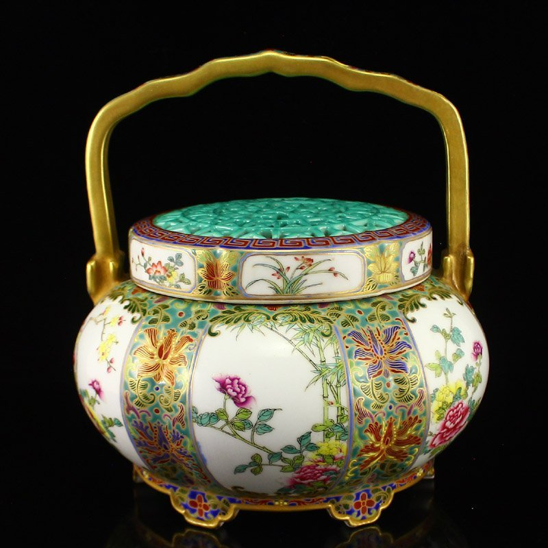 Gilt Gold Famille Rose Porcelain Handle Handwarmer