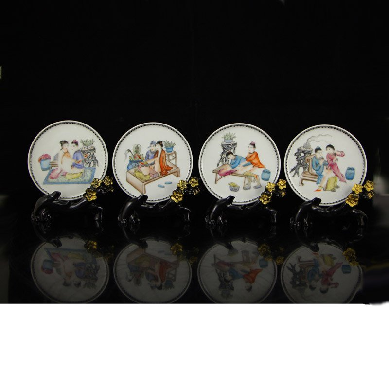 A Set Chinese Qing Dynasty Famille Rose Porcelain Plate