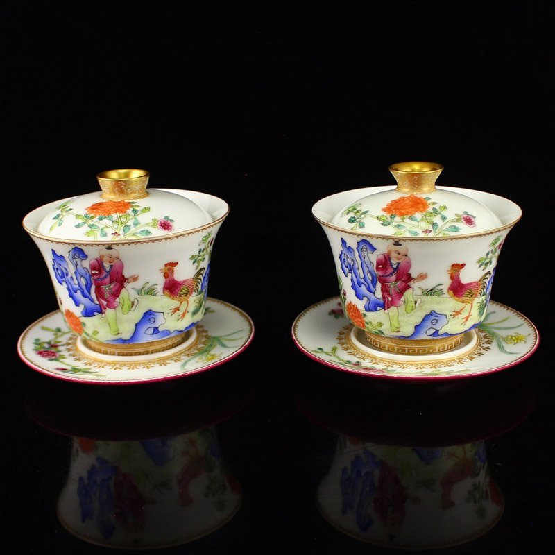 Chinese Qing Dy Gilt Gold Famille Rose Porcelain Teacup