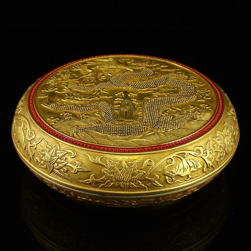 Chinese Gilt Gold Blue Glaze Lucky Dragon Inkpad Box