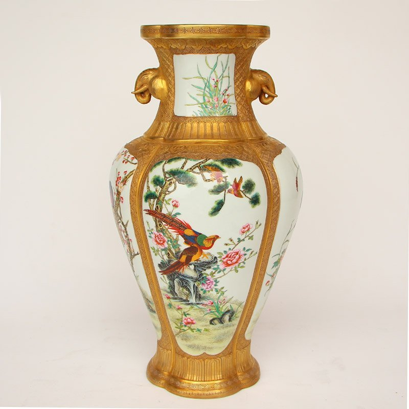 Gilt Gold Famille Rose Elephant Ears Porcelain Vase