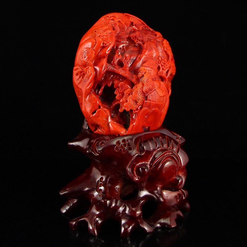 Superb Chinese Nanhong Agate Statue - Sages & Pine Tree
