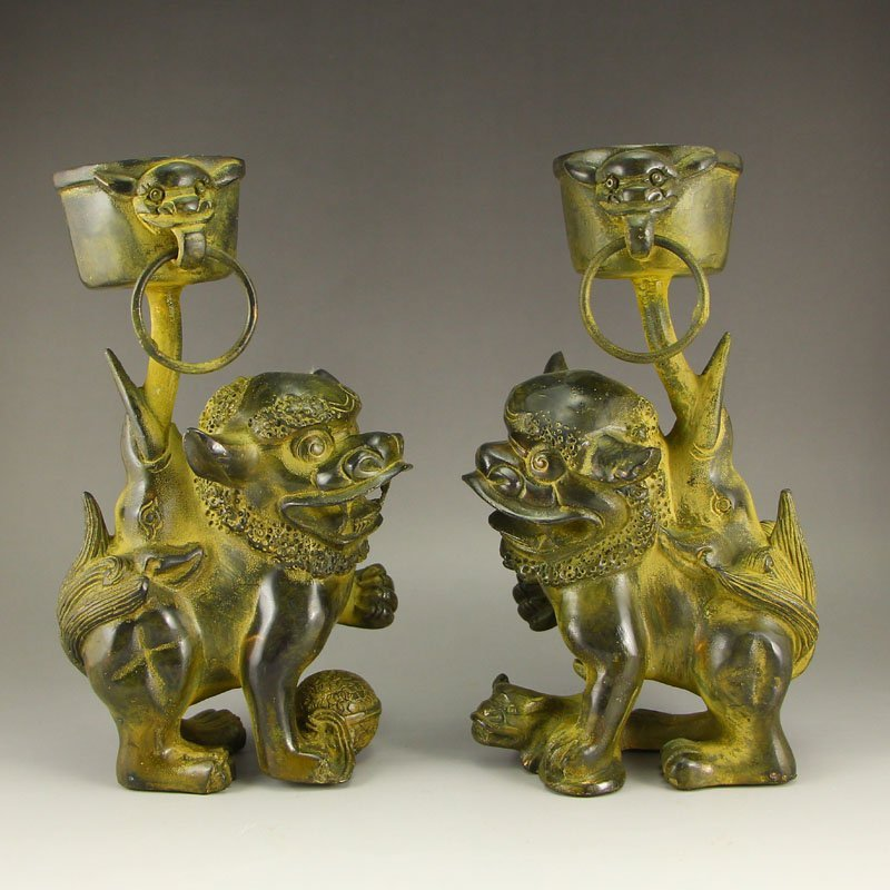 A Pair Chinese Qing Dynasty Bronze Beasts Candlesticks