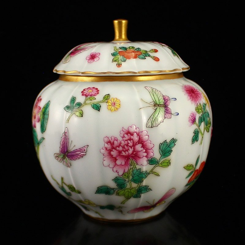 Chinese Qing Dy Gilt Gold Famille Rose Porcelain Caddy