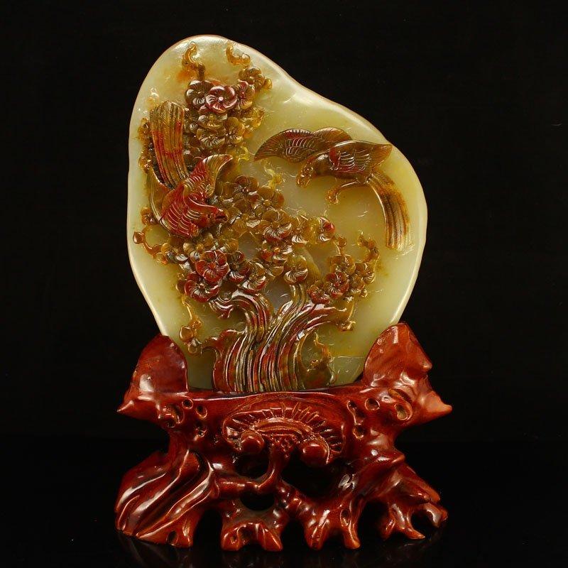 Chinese Natural Jade Statue - Magpie & Plum Flower