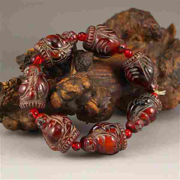Vintage Chinese Ox Horn Laughing Buddha Bracelet