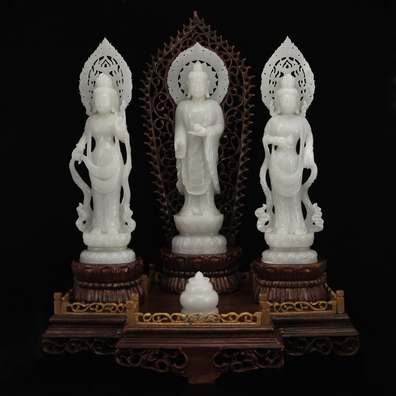 Superb Chinese Qing Dy Hetian Jade Three Buddhas Statue