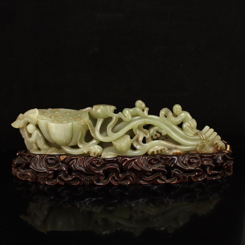 Openwork China Qing Dy Hetian Jade Lotus & Kids Statue