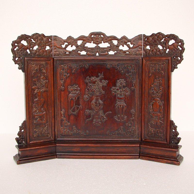 Vintage Chinese Zitan Wood Low Relief Screen