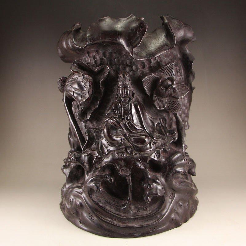Chinese Zitan Wood Lotus Kwan-yin Brush Pot