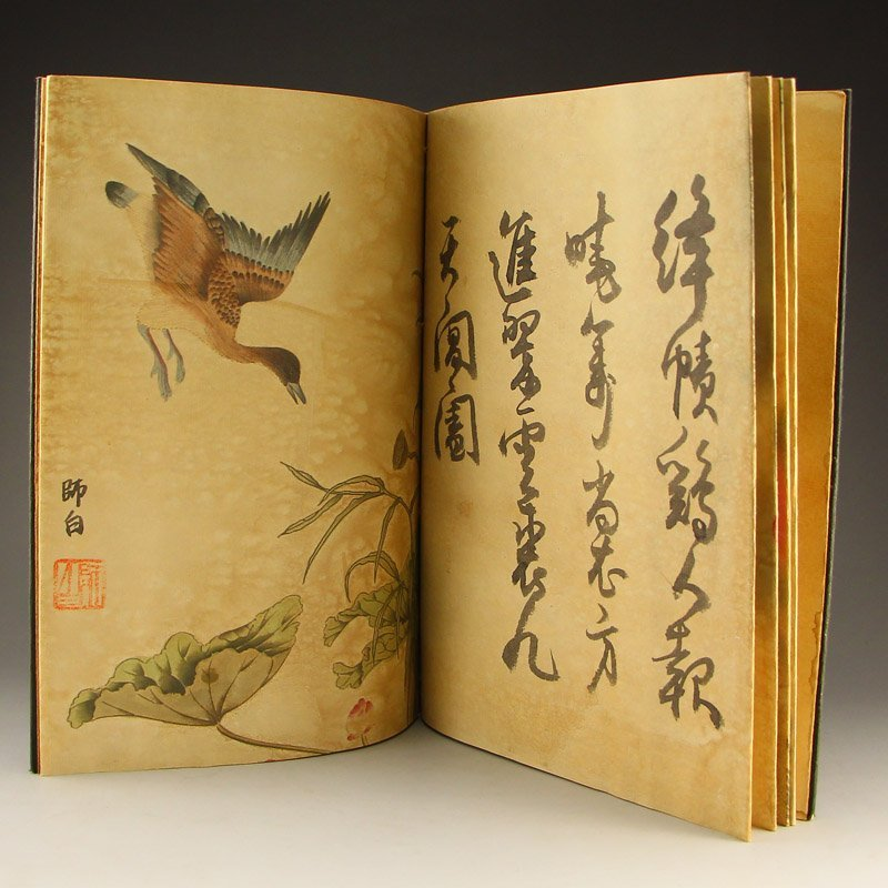 Watercolour on Xuan Paper Calligraphy Painting Book