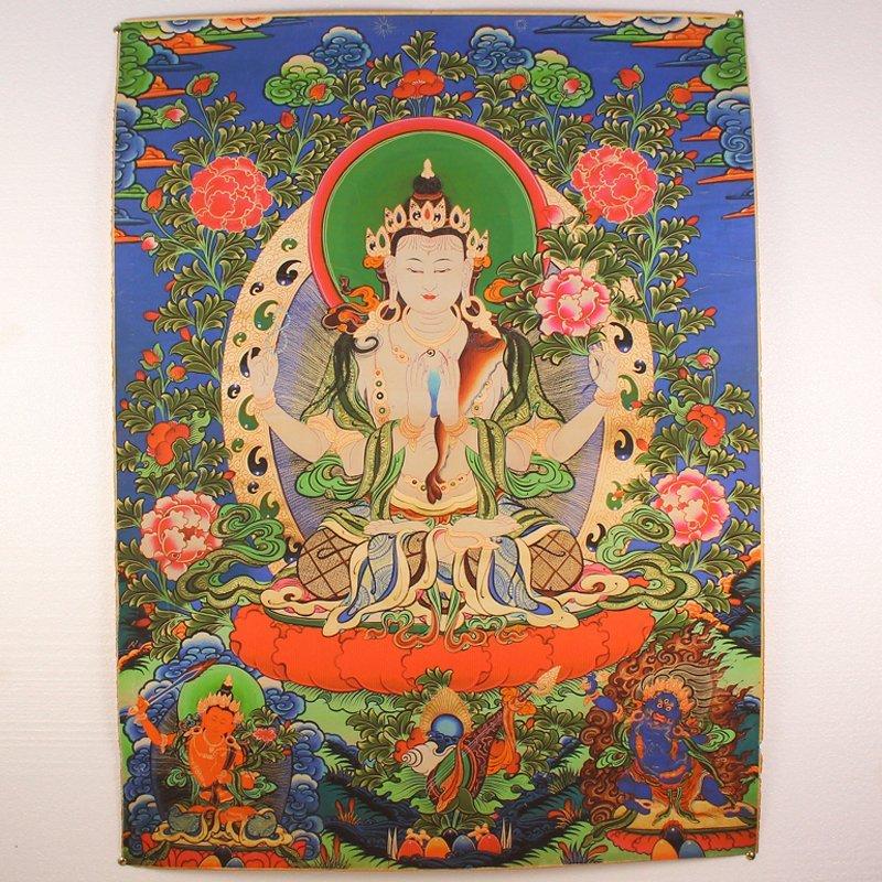 Tibetan Kraft Thangka - Four Arms Kwan-yin