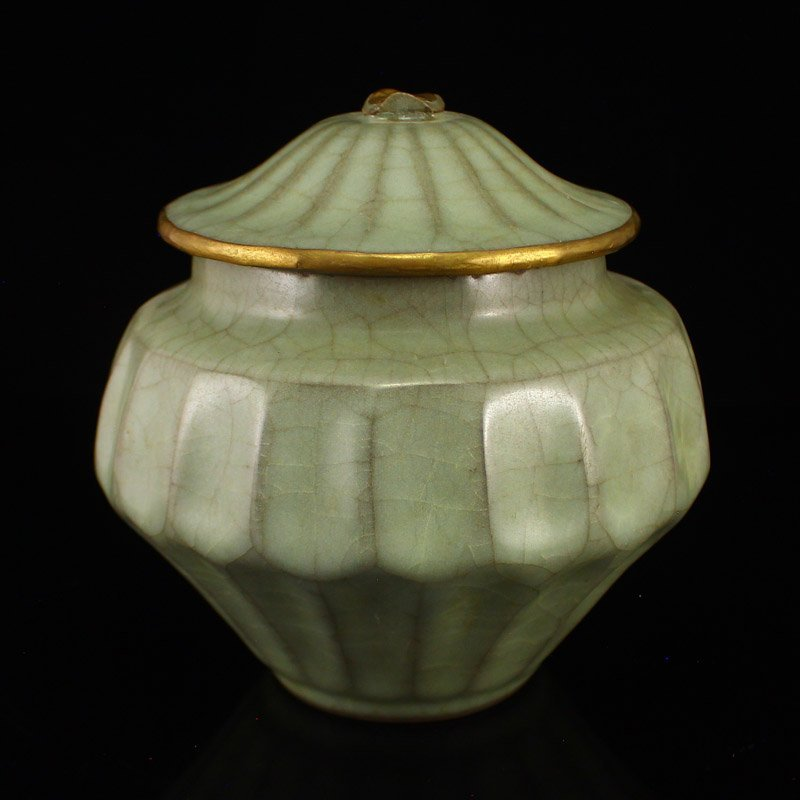 Chinese Gilt Edges Long Quan Kiln Porcelain Tea Caddy