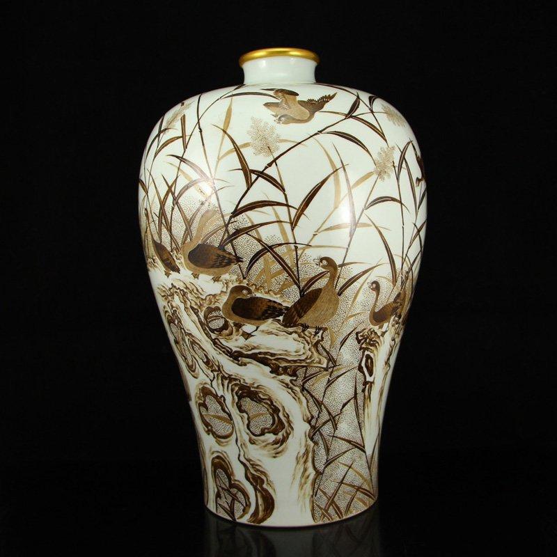 Superb Chinese Qing Dynasty Ink Glaze Porcelain Vase