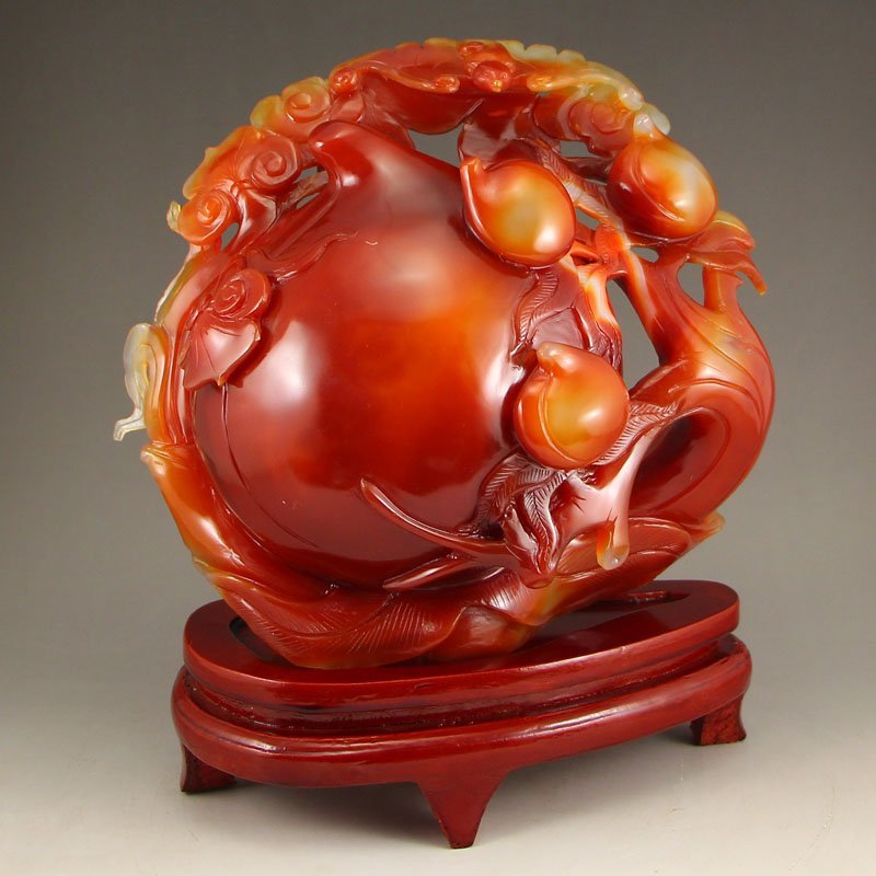 Chinese Natural Agate Peaches & Bats Statue