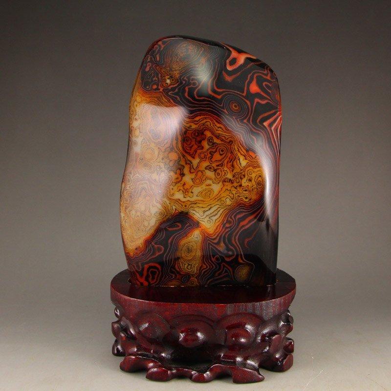 Chinese Natural Agate Original Stone Statue