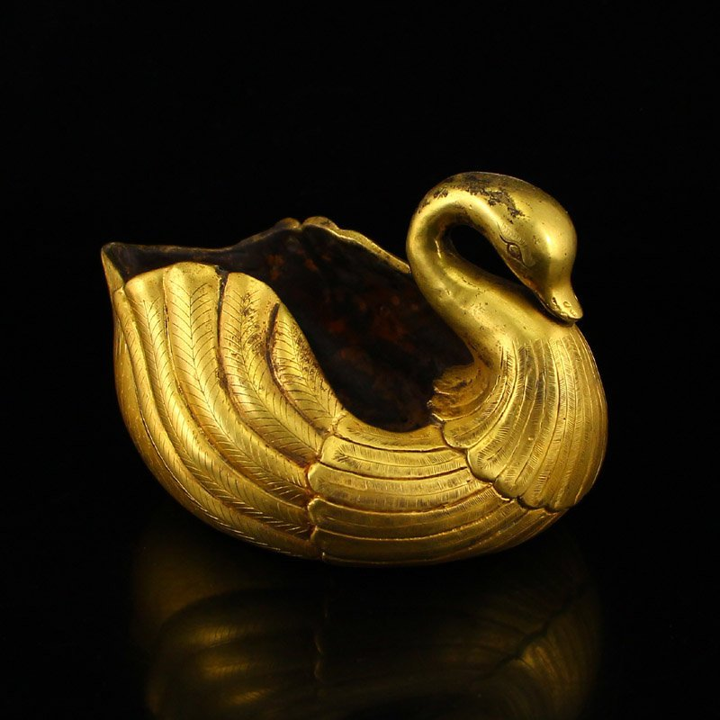 Chinese Tang Dy Gilt Gold Bronze Swan Brush Washer