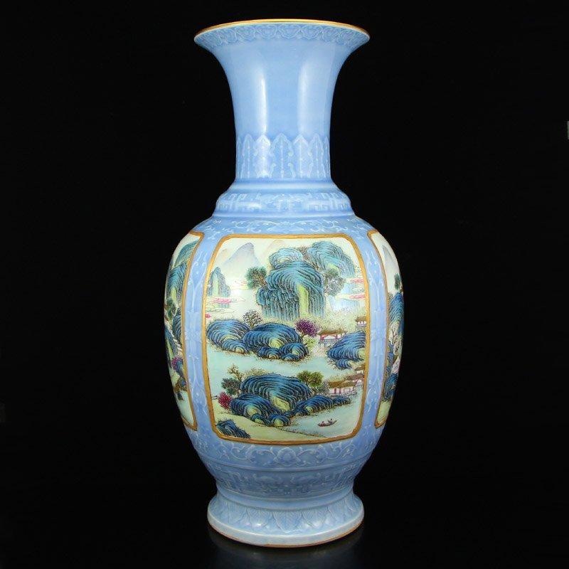 China Blue Ground Gilt Gold Famille Rose Porcelain Vase
