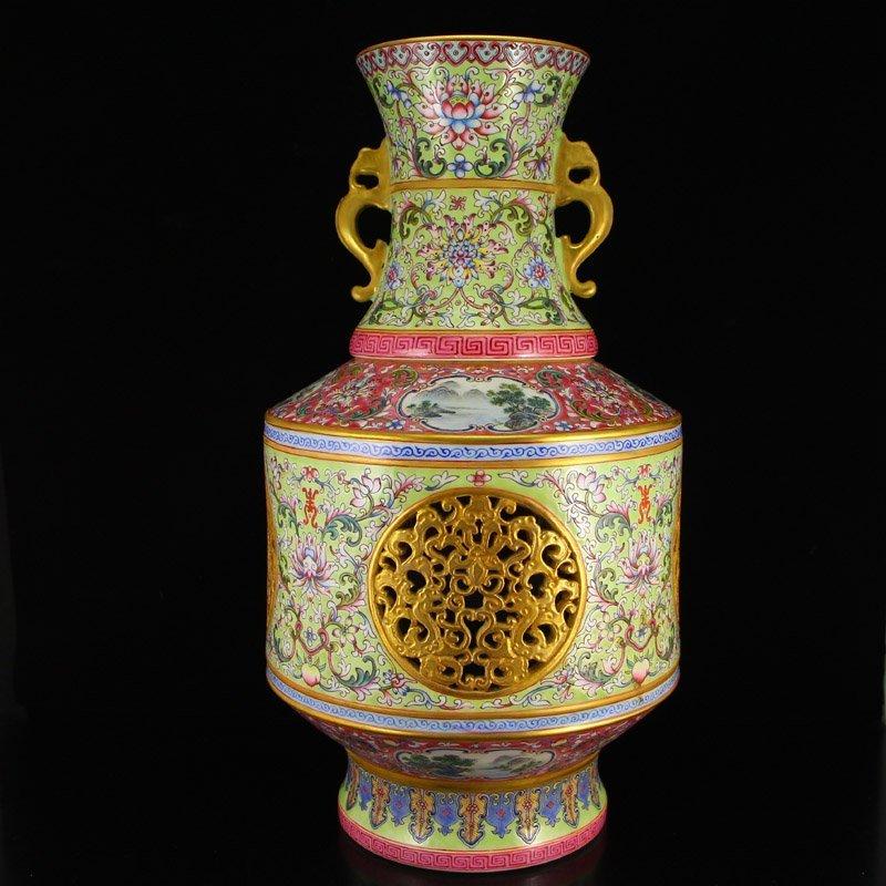 Openwork Chinese Gilt Gold Famille Rose Porcelain Vase