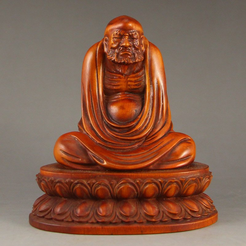 Vintage Chinese Boxwood Wood Statue - Dharma