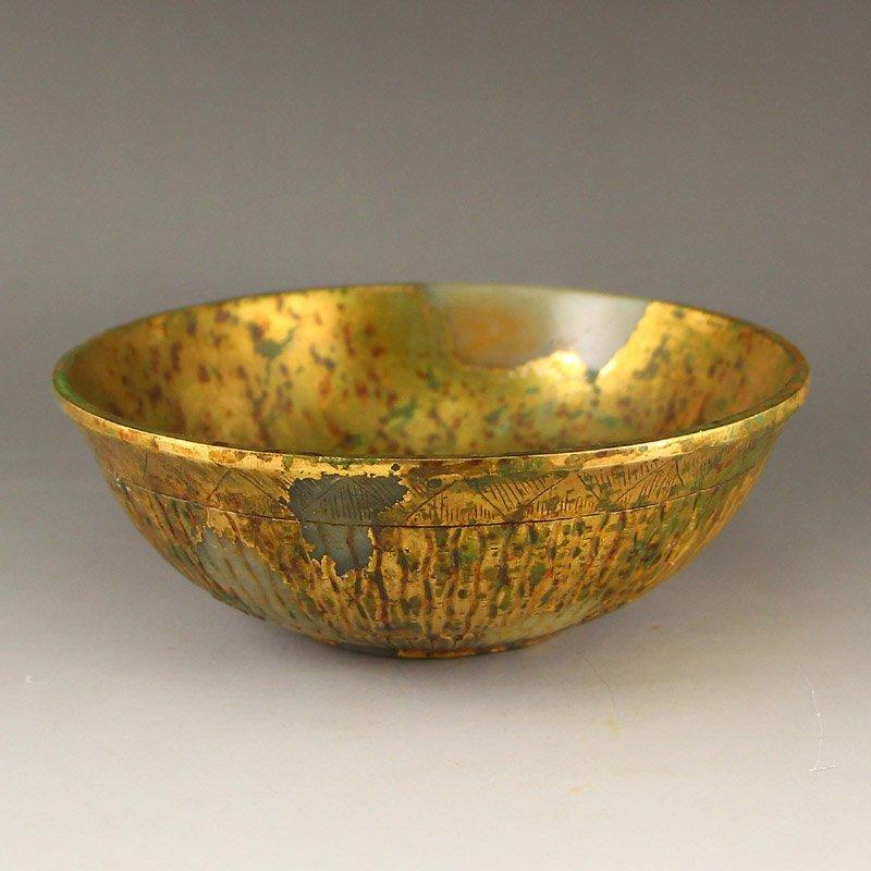Vintage Chinese Gilt Gold Hetian Jade Bowl