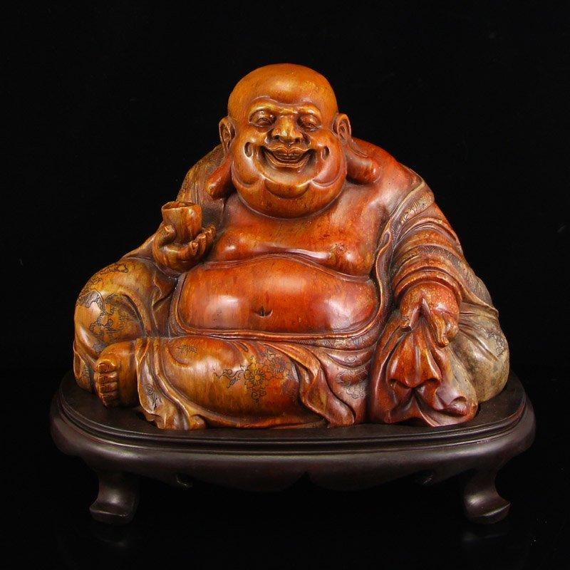 Vintage Chinese Shoushan Stone Laughing Buddha Statue