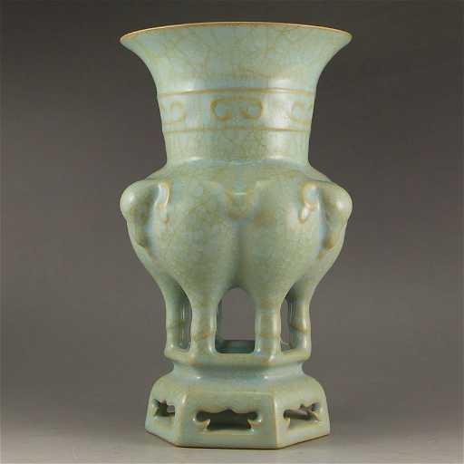 China Sky Blue Glaze Ru Kiln Sheep Heads Porcelain Vase