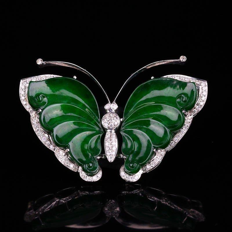 18K White Gold Inlay Jadeite Diamonds Butterfly Pendant